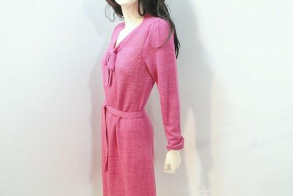 Vintage 70s Dress Pink Knit Fuchsia Secretary Size Medium