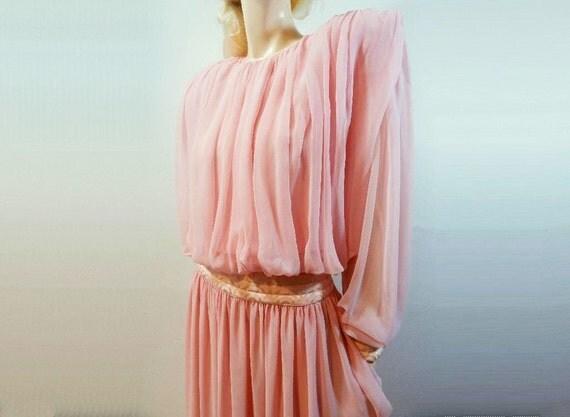 80s Dress Vintage 1980s Wayne Clark Canadian Designer Pink Chiffon Size M / L