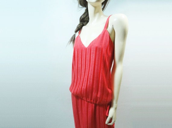 Vintage Coral Dress 80s Vintage Summer Dress 1980s Size Small / Med