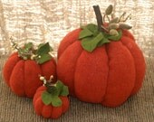3 Three Eco Felt Wool Pumpkins Fall Decoration Orange and Green all recycled (woolcrazy)