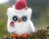 Santa Baby Christmas Owl eco friendly felt Angora wool and smells like a Candy Cane... (woolcrazy)