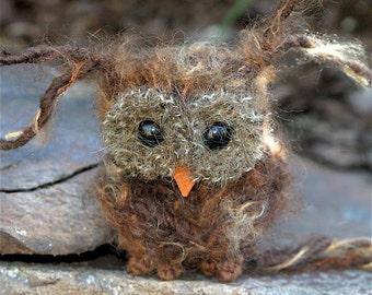 Plush Brown Baby Owl ... knit fuzzy ecofriendly felt wool owl toy (woolcrazy)