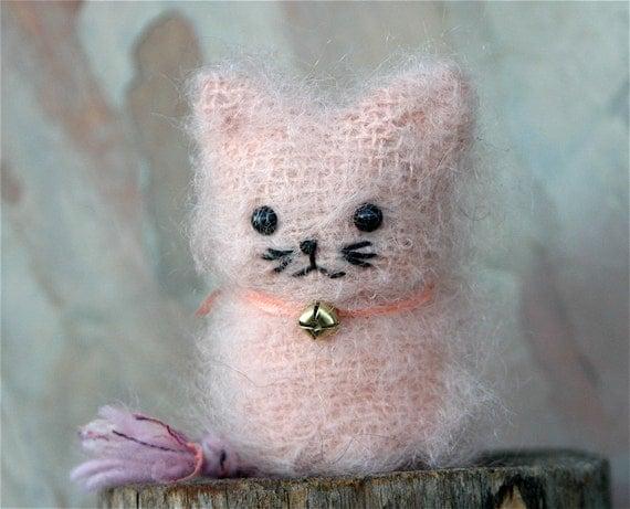 Plush Pink Kitty Kids Toy Felt Wool Stuffed Animal Pink Lemonaid Waldorf Kitten ... (woolcrazy)