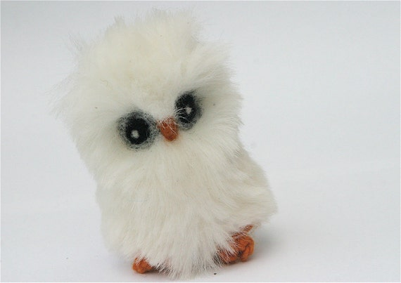 Plush Baby Owl eco friendly toy snow white faux fur friend  (woolcrazy)