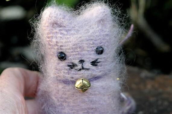 Plush Lavender Kitty Kids Toy Felt Wool Stuffed Animal soft light purple Waldorf Kitten ... (woolcrazy)