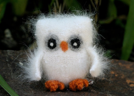 Plush fluffy white Felt Angora Wool Baby Owl natural toy ecofriendly (woolcrazy)