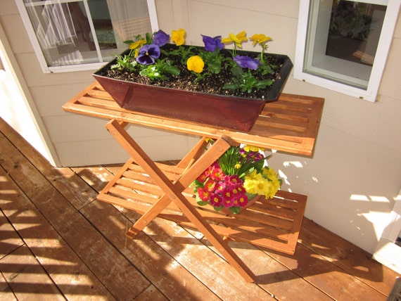 Outdoor wood plant stand table perfect for porch or deck