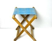 Vintage blue Folding Camping Table or Fishing Stool Chair