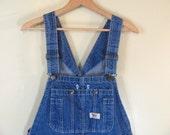Vintage WORK SPORT Blue Denim Jean Bib Overalls .. Carpenter Pants Size 38 x 32