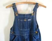 Vintage kids KEY Blue Denim Jean Bib Overalls .. Carpenter Pants Size 6 Children's