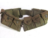 antique vintage military green army ammo ammunition belt