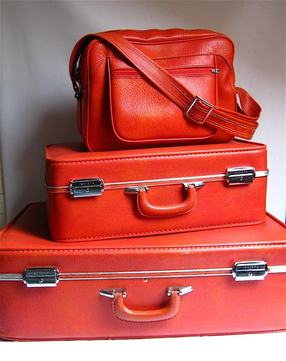 Vintage Electric Orange Invicta soft shell Luggage Set (Set of three)