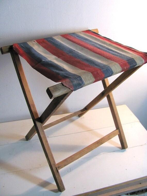 Vintage Striped Folding Camping or Fishing Stool