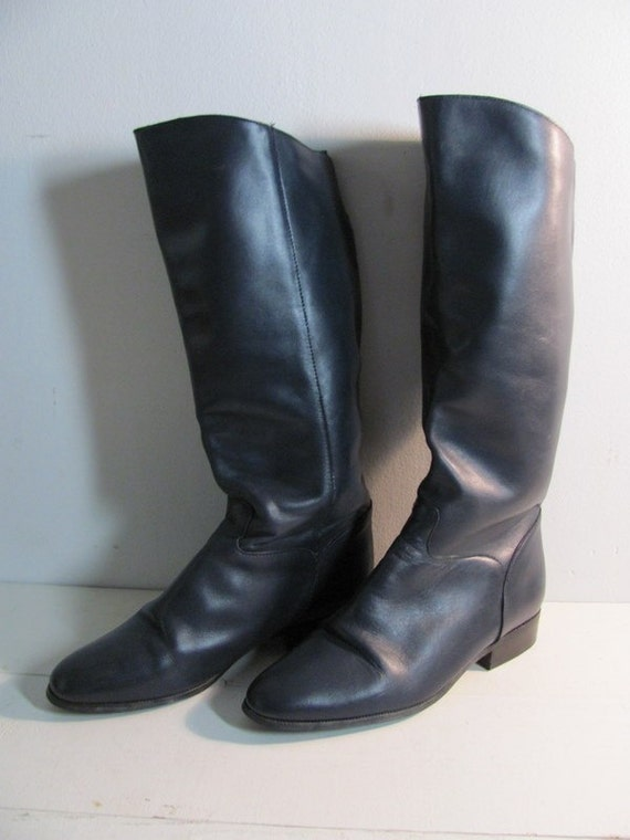 vintage navy blue leather boots womens size 7 5 m