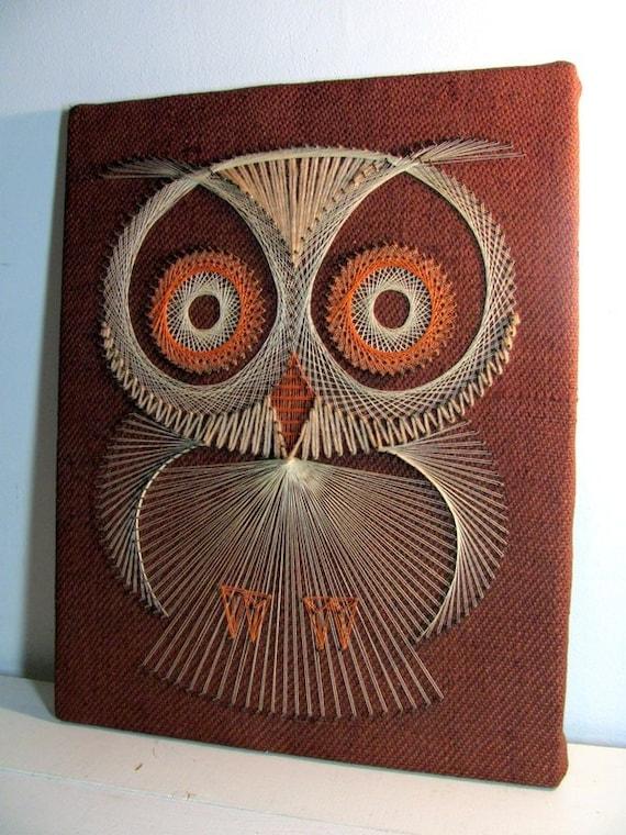 Vintage Owl String Art Wall Hanging Mid Century Modern