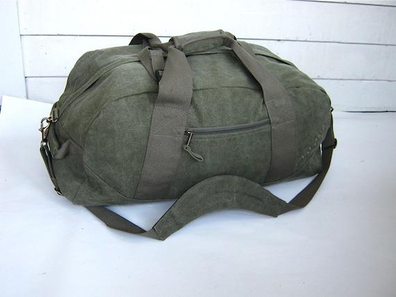 large cotton army green canvas ll bean duffle bag