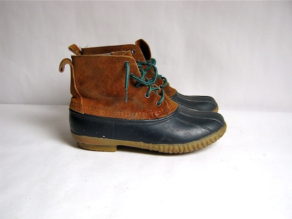 vintage leather and rubber duck boots