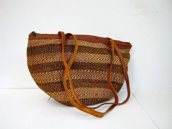 Large Striped Woven Basket Purse with Leather Handle