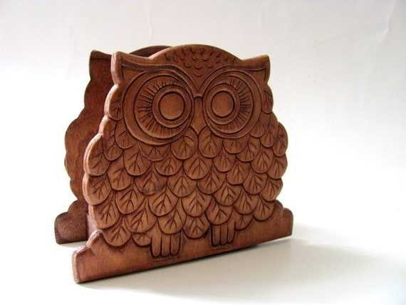vintage wooden owl napkin holder