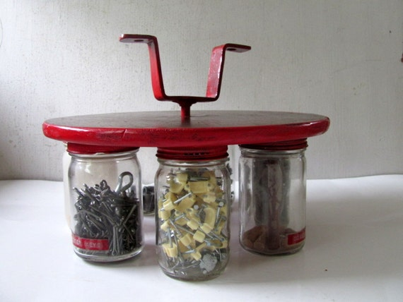 Vintage Industrial Organizer Spinning Jar Shelf