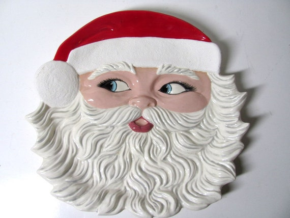Vintage Christmas Santa Claus Cookie Serving Plate or Wall Hanging