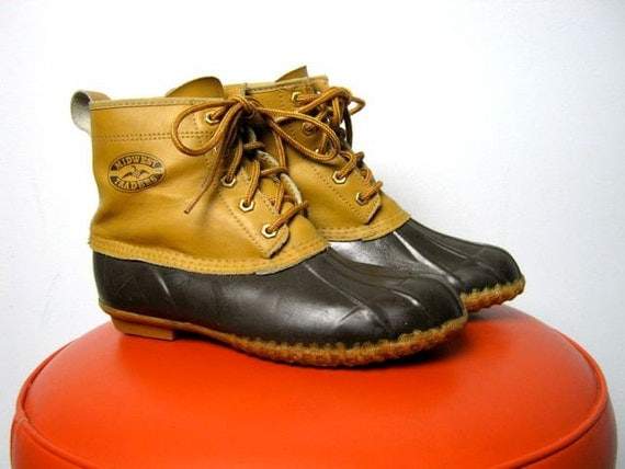 Vintage leather and rubber ankle duck boots
