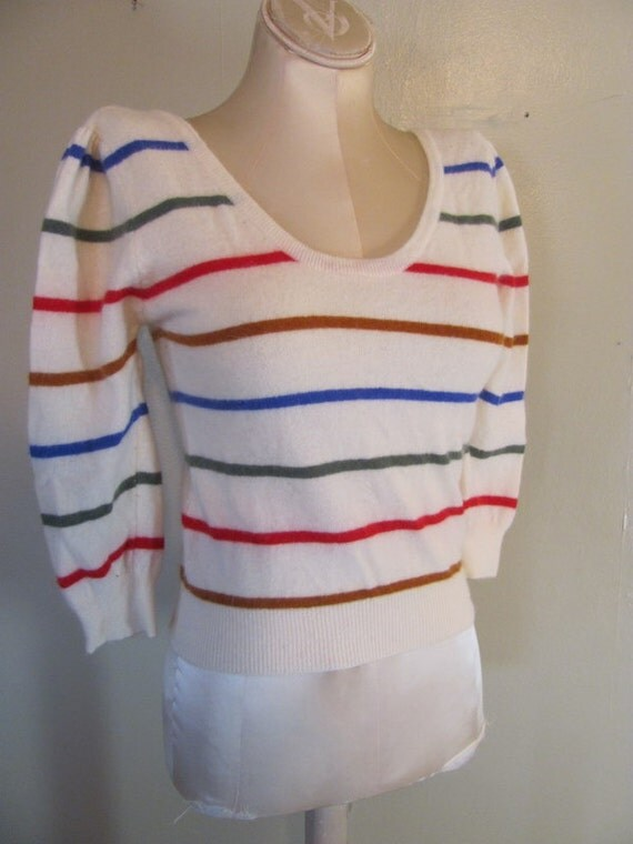 Vintage 80s Striped Scoop neck Angora Sweater