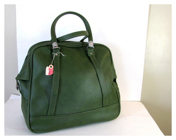 Vintage 1960's avocado green American Tourister carry on bag