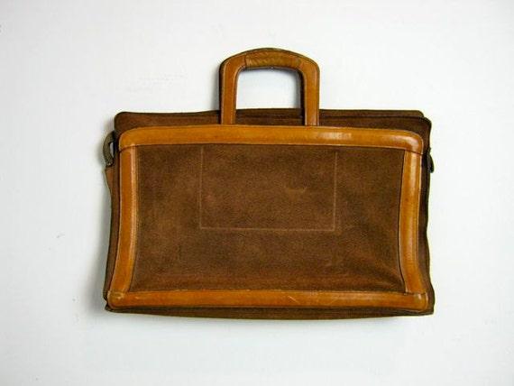 Vintage brown Michael Scott suede laptop hand bag briefcase