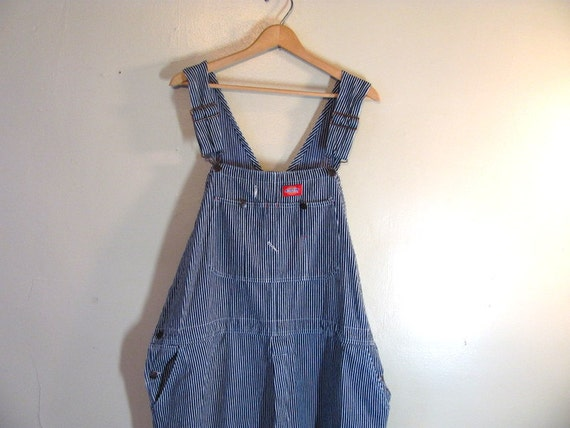 Vintage Dickies Blue PinStriped Denim Jean Bib Overalls .. Carpenter Pants Size W46 x L32 XXL