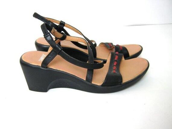 Vintage black leather sandals 39