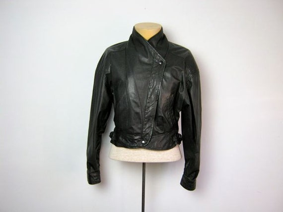 Vintage womens black leather motorcycle coat Small
