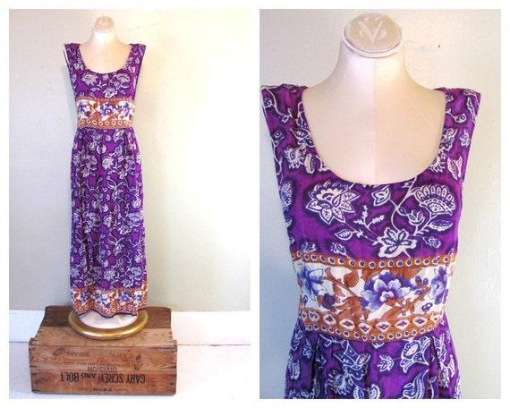 Vintage Long Purple Floral Boho grunge 90s Revival Maxi Dress women's size M - L