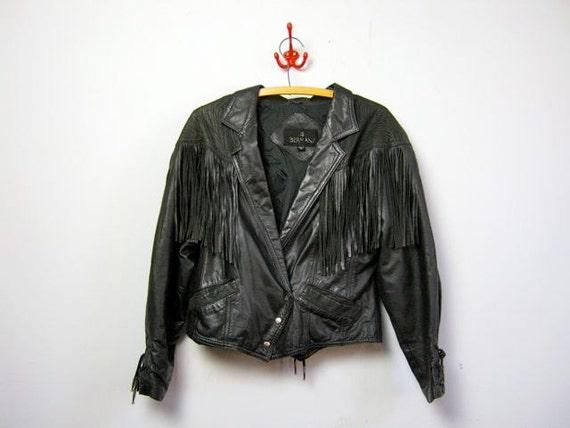 vintage 80s black leather fringe motorcycle jacket