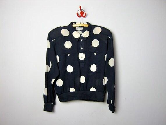 vintage 80s sheer polka dotted shirt