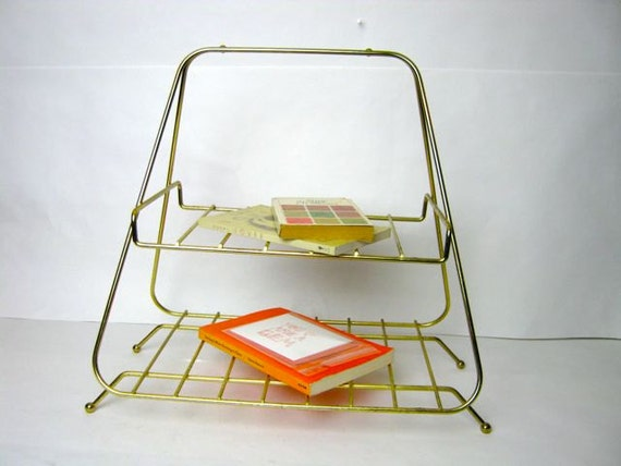 reserved....Mid Century Gold Metal Shelf
