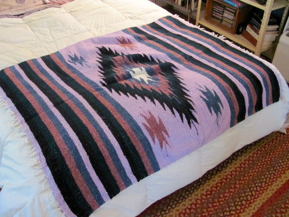 Vintage Mexican puprle and black Striped Ethnic Blanket