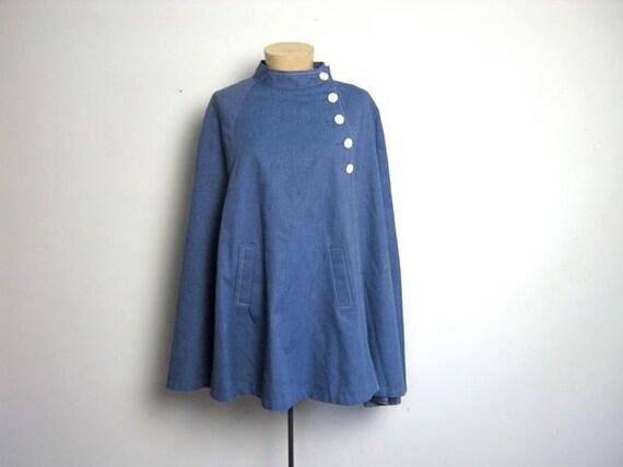 vintage 60s blue cape coat