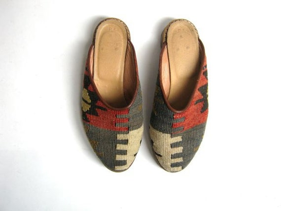 Vintage colorful wool Turkish Kilim woven mules slip on shoes