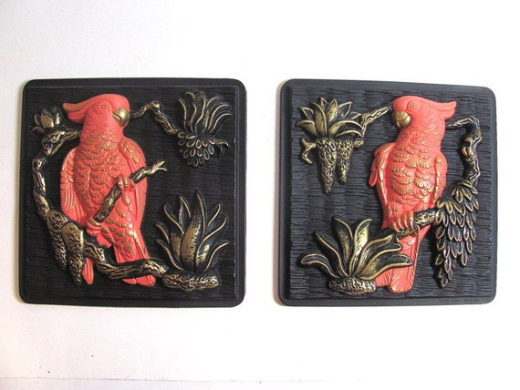 Pair of vintage Miller Studio wall hanging // pictures / plaques with BIRDS , 1968 / plastic 3D / Pink Cockatiels
