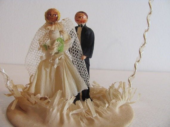 Vintage Antique Wedding Cake Topper Bride and Groom