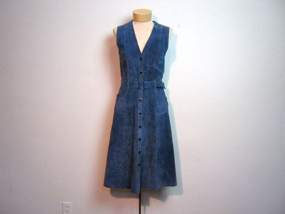 vintage incredible blue suede snap up belted dress