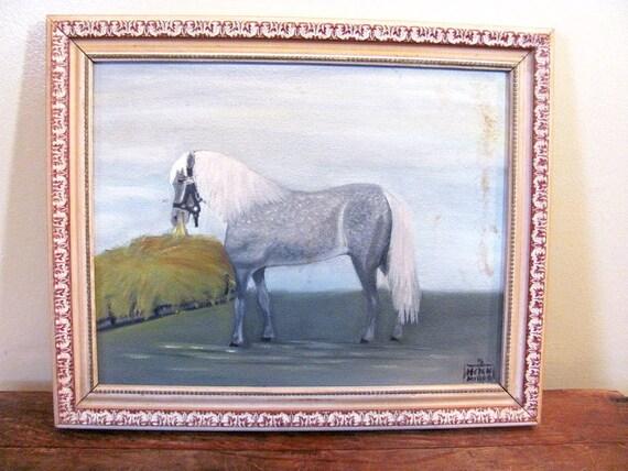 Vintage 1967 Framed Original Horse Painting