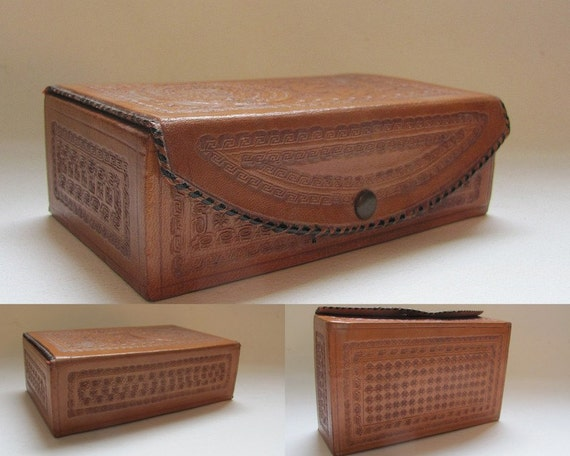Vintage Tooled Leather Small Jewelry Box made in Mexico