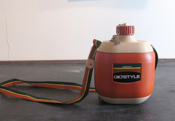 Vintage orange Italian Gio'Style canteen flask for backpacking and camping