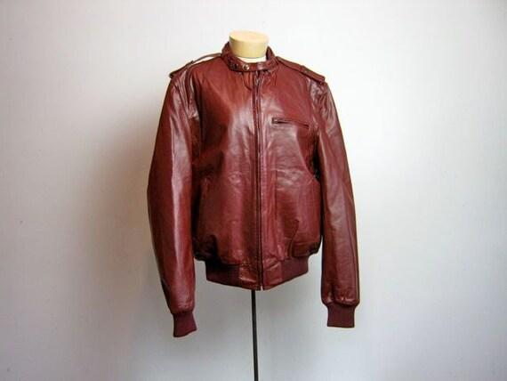 vintage men's marron leather Berman's motorcycle biker jacket 46 L