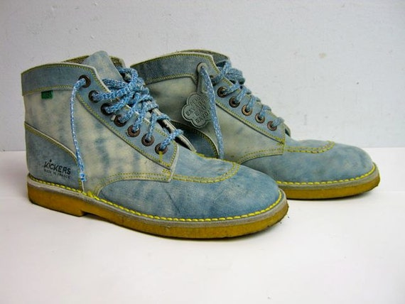 vintage blue leather FRENCH KICKERS ankle boots