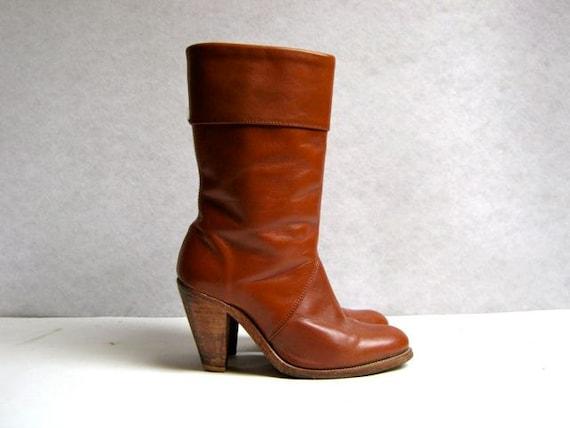 vintage 70s women's mid calf frye boots