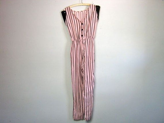 vintage 80s pink and black striped jumpsuit S/M