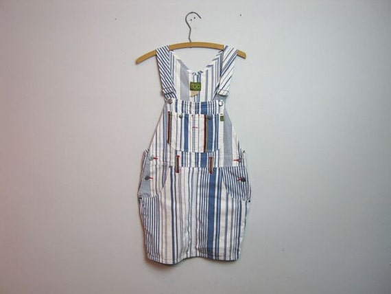 vintage blue and white bib overall jean dress